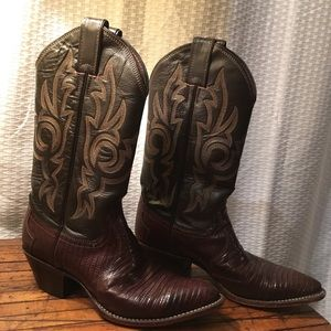 Justin 4711 brown leather lizard cowboy boots 6.5